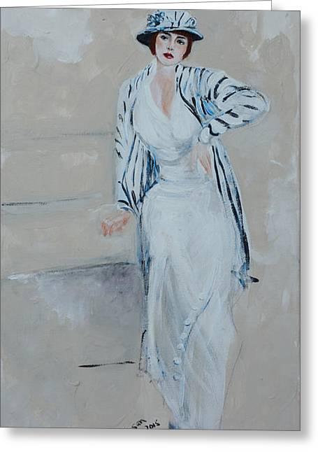 Nineteen Twenties Lady In Striped Jacket Greeting Card by Susan Adams