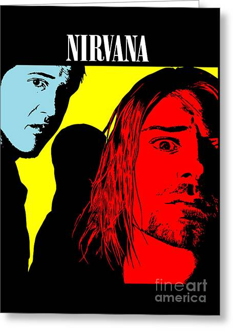 Rock Guitar Player Greeting Cards - Nirvana No.01 Greeting Card by Caio Caldas