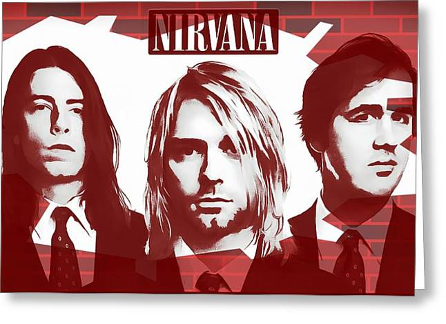 Awesome Mixed Media Greeting Cards - Nirvana Tribute Greeting Card by Dan Sproul