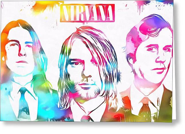 Nirvana Watercolor Paint Splatter Greeting Card by Dan Sproul