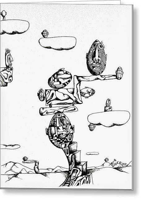 Pen And Ink Drawing Greeting Cards - Nisarts Opus 04 Greeting Card by Ron Nisar