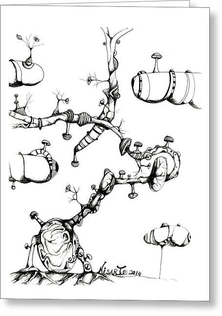 Pen And Ink Drawing Greeting Cards - Nisarts Opus 08 Greeting Card by Ron Nisar