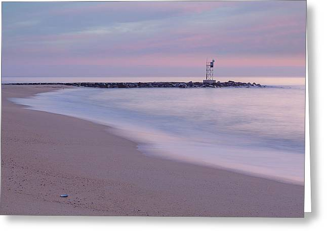 Nj Shore Jetty First Light Greeting Card by Susan Candelario
