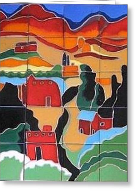 House Ceramics Greeting Cards - NM Landscape Greeting Card by Yana Yatsyk