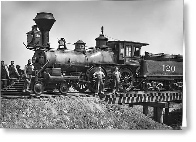 Overalls Greeting Cards - No. 120 Early Railroad Locomotive Greeting Card by Daniel Hagerman