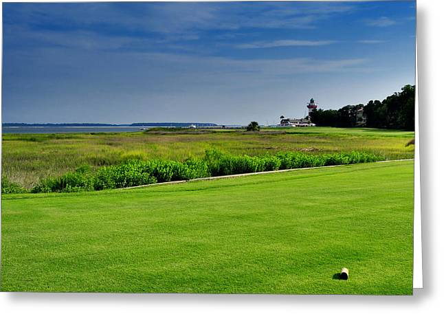 Lyle Huisken Greeting Cards - No. 18 at Harbour Town Golf Links Greeting Card by Lyle  Huisken
