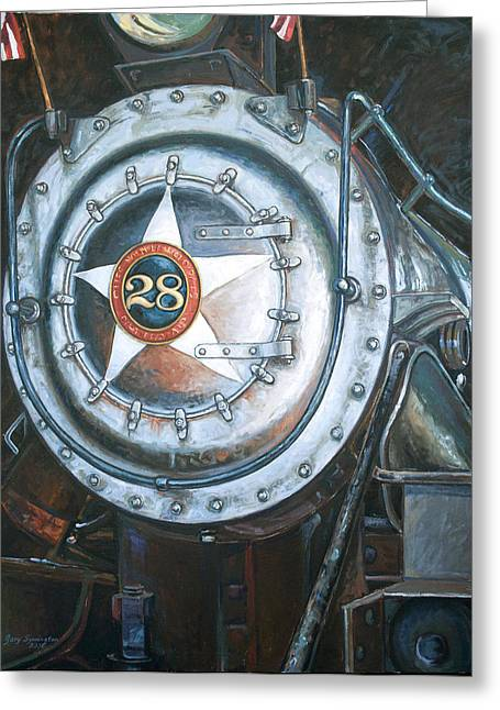 Railway Locomotive Greeting Cards - No. 28 in the Shed Greeting Card by Gary Symington