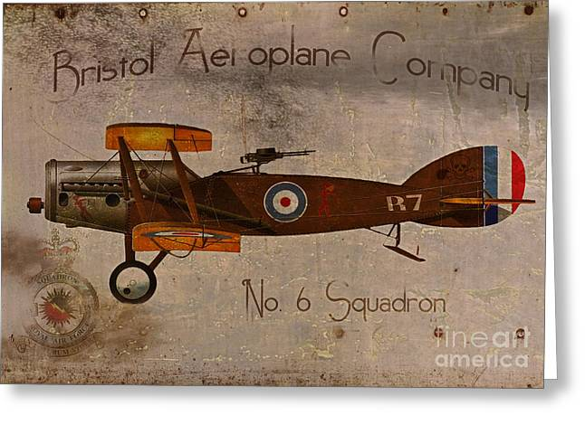 Biplane Greeting Cards - No. 6 Squadron Bristol Aeroplane Company Greeting Card by Cinema Photography