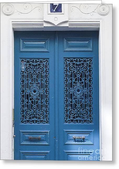 No 7 Paris Blue Door Greeting Card by Ivy Ho