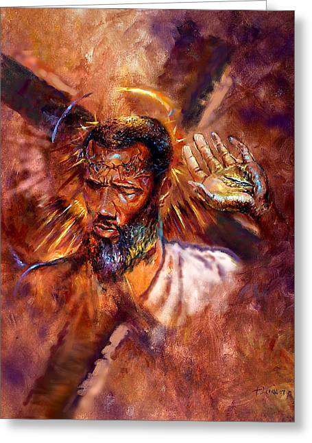 Crucifixtion Greeting Cards - No Excuses Greeting Card by Tommy  Winn
