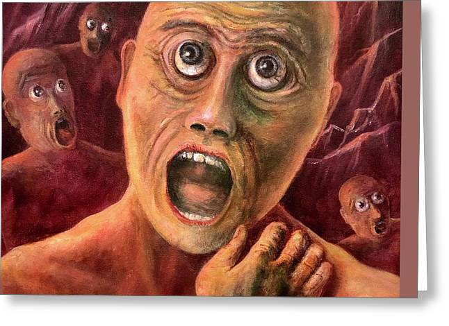 Torment Paintings Greeting Cards - No Eyelids In Hell Greeting Card by Randy Burns