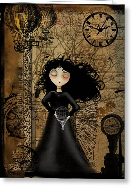 Goth Girl Greeting Cards - No Fear of Flying Greeting Card by Charlene Zatloukal
