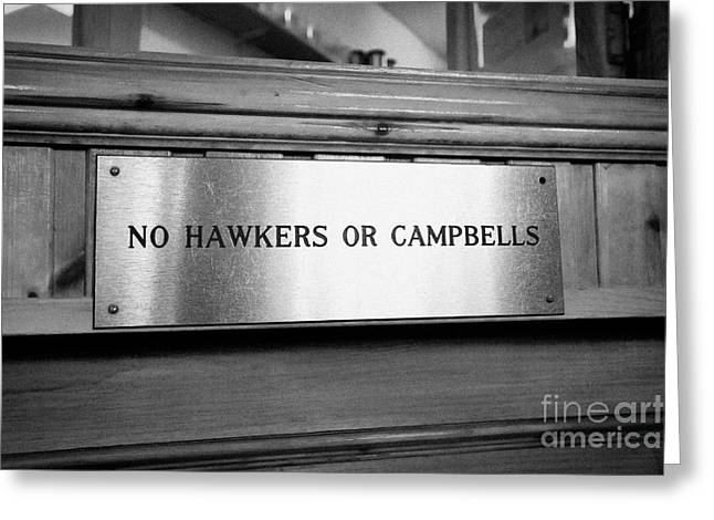 Campbell Clan Greeting Cards - no hawkers or campbells sign in the clachaig inn site of the massacre of glencoe Scotland UK  Greeting Card by Joe Fox
