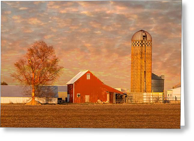Wooden Building Greeting Cards - Red Barn Sunset Greeting Card by Patti Deters