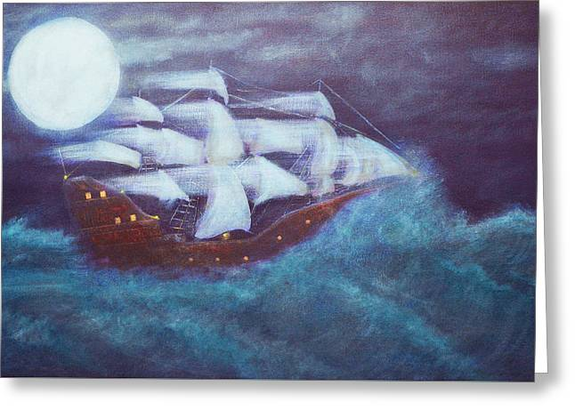 Sailboat Art Greeting Cards - No land in site Greeting Card by Ken Figurski