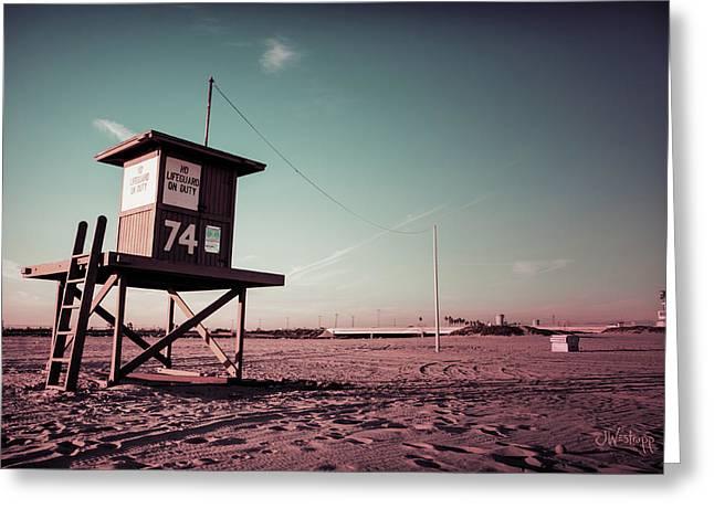 No Lifeguard On Duty Greeting Card by Joseph Westrupp