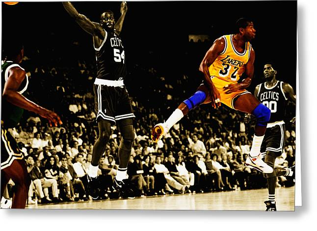 Karl Malone Greeting Cards - No Look Pass 3 Greeting Card by Brian Reaves