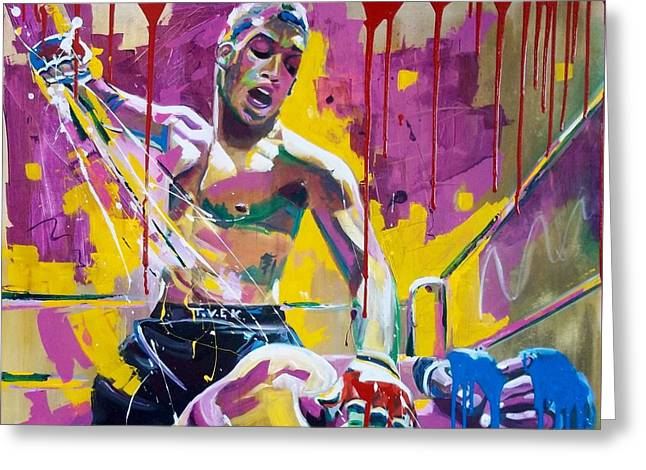 Champ. Boxer Greeting Cards - No mercy Greeting Card by Angie Wright