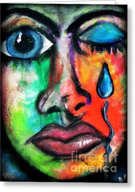 Graffiti Pastels Greeting Cards - No more tears Greeting Card by Hollie Murphy