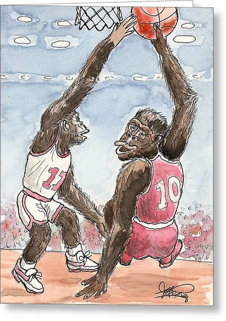Basketbal Greeting Cards - No No No Greeting Card by George I Perez