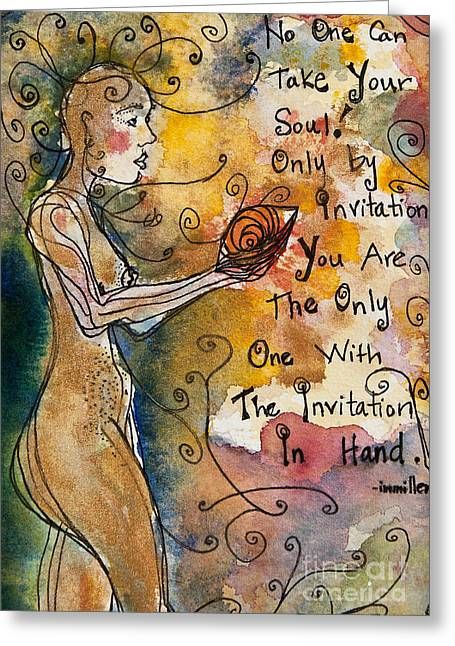 Empowerment Paintings Greeting Cards - No One Can Take Your Soul Greeting Card by Ilisa  Millermoon