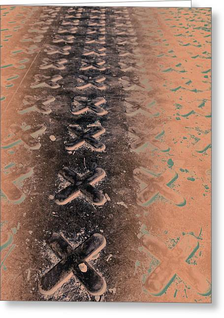 Grate Photographs Greeting Cards - No Os - Negative in Copper Greeting Card by Caitlyn  Grasso