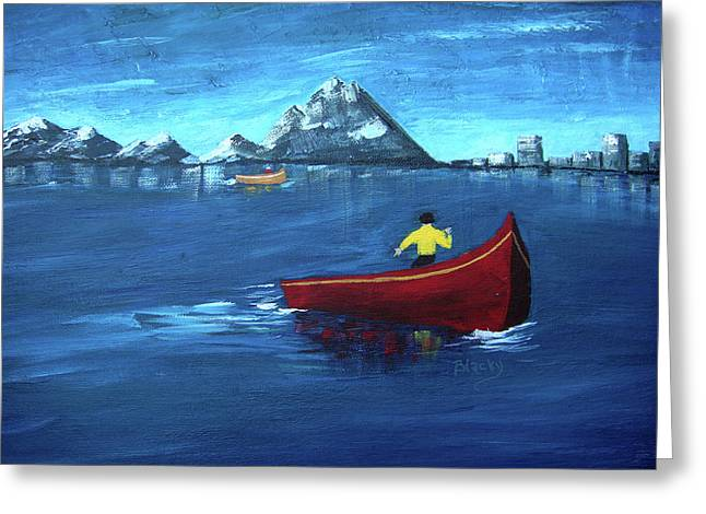 Canoe Paintings Greeting Cards - No Paddle Greeting Card by Donna Blackhall