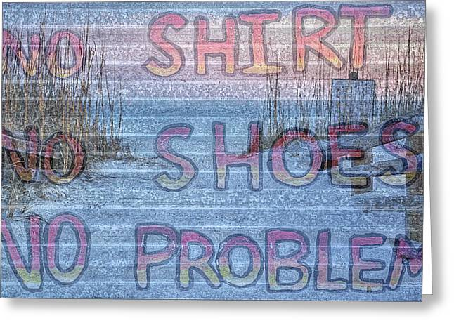 No Shirt No Shoes No Problem Panama City Beach Greeting Card by JC Findley