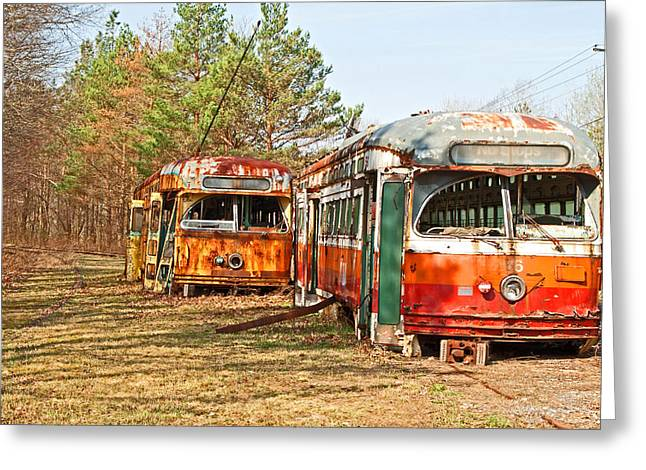Rusted Cars Greeting Cards - No Stops Greeting Card by Michael Porchik