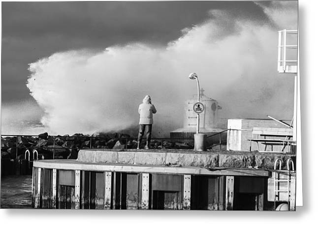 Turbulent Skies Greeting Cards - No Swimming - Black and white Greeting Card by Marcus Karlsson Sall