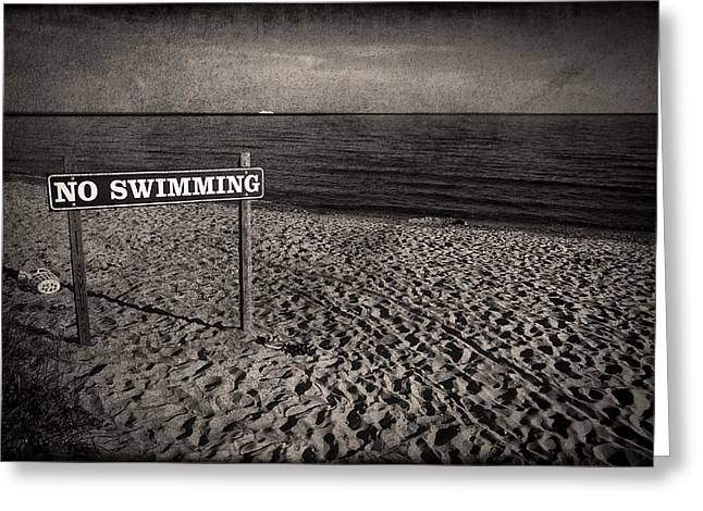 Signed Greeting Cards - No Swimming Greeting Card by Evelina Kremsdorf