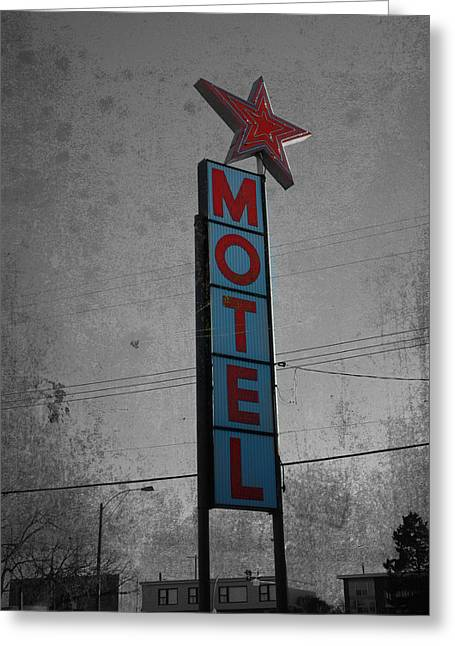 Conversing Greeting Cards - No Tell Motel Greeting Card by Jerry Cordeiro