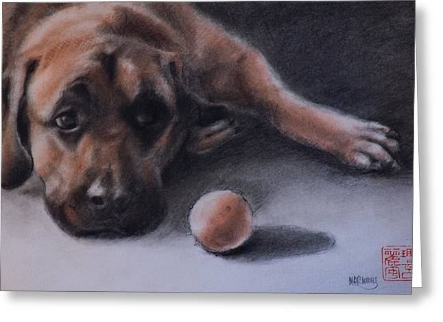 Conte Greeting Cards - No Time to Play Greeting Card by MaryAnn Cleary