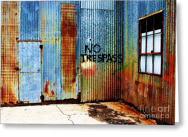 Streetphotography Greeting Cards - No Trespass Greeting Card by Ronnie Glover