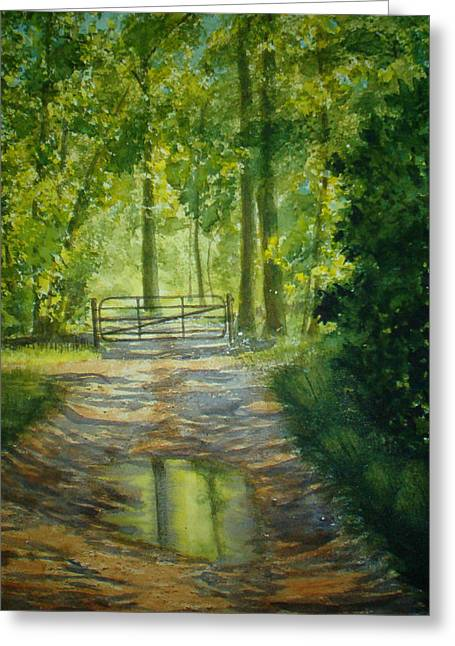 Puddle Greeting Cards - No Trespassing Greeting Card by Shirley Braithwaite Hunt