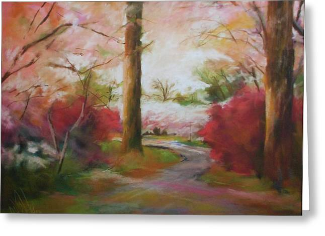 Cherry Blossoms Pastels Greeting Cards - No Where But Here Greeting Card by Debbie Anderson
