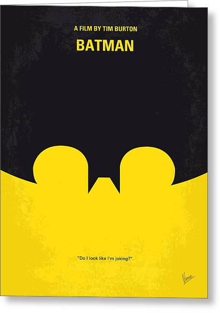 Batman Greeting Cards - No008 My Batman minimal movie poster Greeting Card by Chungkong Art