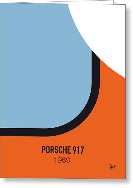 No016 My Le Mans Minimal Movie Car Poster Greeting Card by Chungkong Art