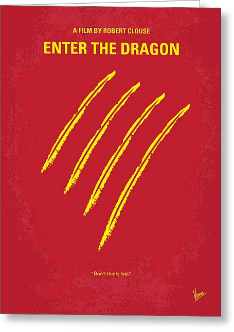 Dragon Greeting Cards - No026 My Enter the dragon minimal movie poster Greeting Card by Chungkong Art