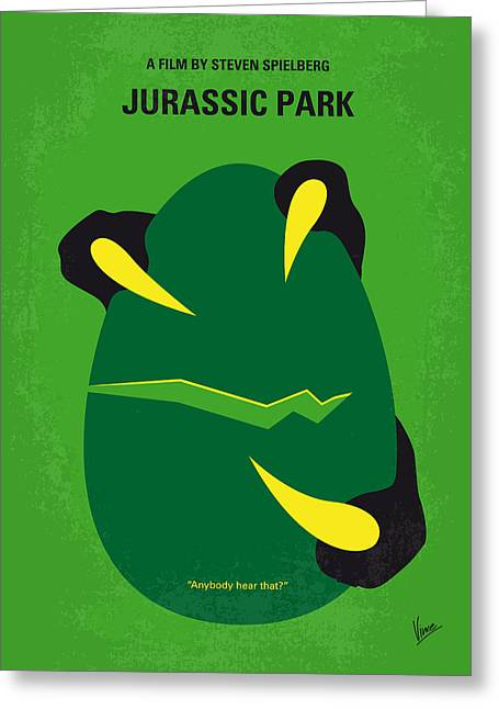 Extinct And Mythical Digital Art Greeting Cards - No047 My Jurassic Park minimal movie poster Greeting Card by Chungkong Art