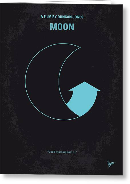 Moonlit Greeting Cards - No053 My Moon 2009 minimal movie poster Greeting Card by Chungkong Art