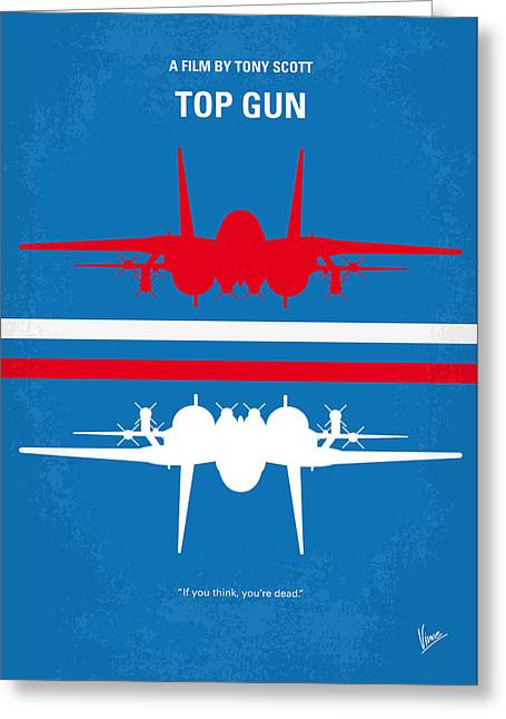Printed Greeting Cards - No128 My TOP GUN minimal movie poster Greeting Card by Chungkong Art