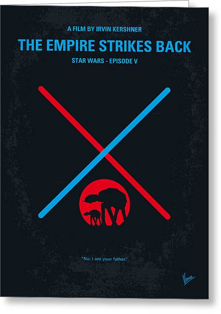No155 My Star Wars Episode V The Empire Strikes Back Minimal Movie Poster Greeting Card by Chungkong Art