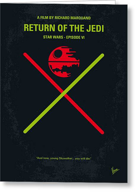 Knighted Greeting Cards - No156 My STAR WARS Episode VI Return of the Jedi minimal movie poster Greeting Card by Chungkong Art