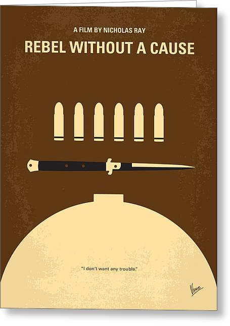 Crashing Greeting Cards - No318 My Rebel without a cause minimal movie poster Greeting Card by Chungkong Art