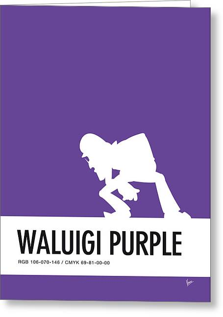 No42 My Minimal Color Code Poster Waluigi Greeting Card by Chungkong Art