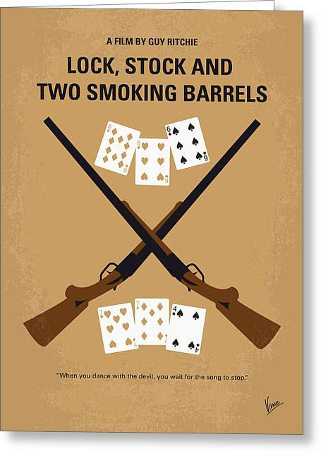 Card Stock Greeting Cards - No441 My Lock Stock and Two Smoking Barrels minimal movie poster Greeting Card by Chungkong Art