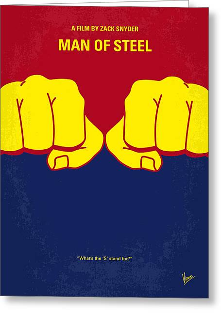 Man Greeting Cards - No447 My Men of steel minimal movie poster Greeting Card by Chungkong Art