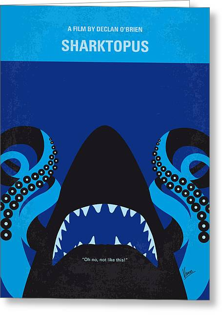 Octopus Greeting Cards - No485 My Sharktopus minimal movie poster Greeting Card by Chungkong Art