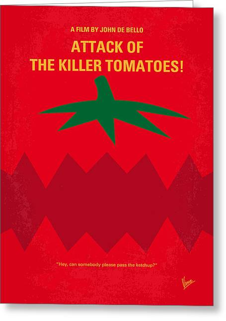 Violent Greeting Cards - No499 My Attack of the Killer Tomatoes minimal movie poster Greeting Card by Chungkong Art
